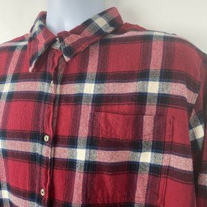 WRANGLER Wrancher Shirt Red Plaid Cotton Flannel